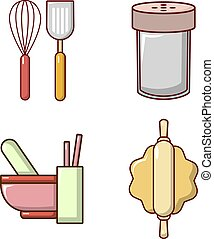 Kitchen tool icon set, cartoon style