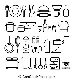 Kitchen tool icons collection / can be used for infographics / graphic or website layout vector/Horizontal