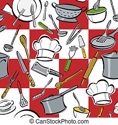 Kitchen Tools Check - Seamless pattern of everyday utensils...