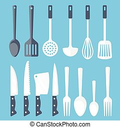 Kitchen tools flat icons set