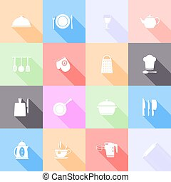 Kitchen tools flat icons with long shadow