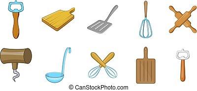 Kitchen tools icon set, cartoon style