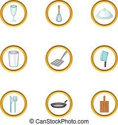Kitchen tools icons set, cartoon style