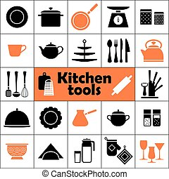Kitchen tools icons set