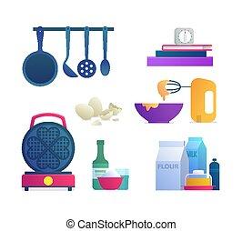 Kitchen tools isolated icons set.