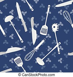 Kitchen tools on blue background