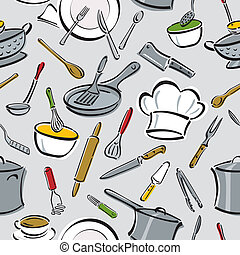 Kitchen Tools Pattern - Vector seamless pattern of kitchen...
