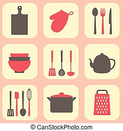 Kitchen tools seamless pattern