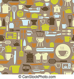 Kitchen tools seamless pattern with retro color, vector format