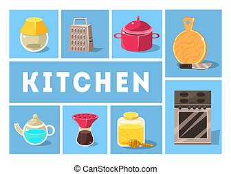 Kitchen Tools Set, Kitchenware Collection, Cooking Utensils Icons for Web, Banner or Site Vector Illustration