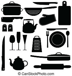 Kitchen tools - Set of kitchen tools, vector illustration