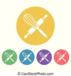 Kitchen tools set of vector colored round icons