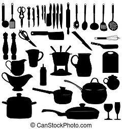 Kitchen tools Silhouette Vector illustration