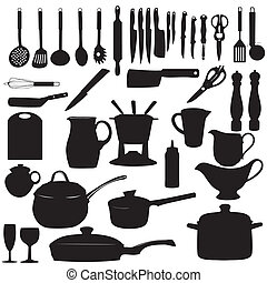 Kitchen tools Silhouette Vector illustration