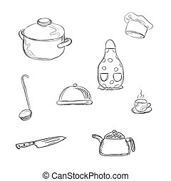 kitchen tools, sketch style, vector illustration