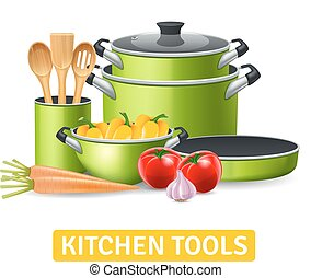 Kitchen Tools With Vegetables Illustration