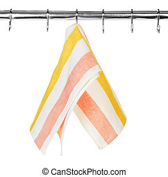 Kitchen towel hanging on a hook
