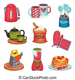 Kitchen Utensil and Appliance with Prepared Pancakes and Smoothie Vector Set