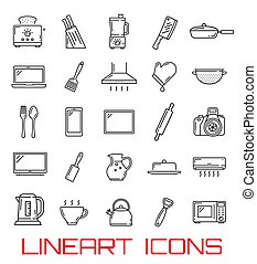 Kitchen utensil and home appliance icons