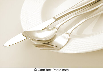 Kitchen Utensil - Empty plate, fork, knife and spoon