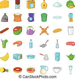 Kitchen utensil icons set, cartoon style