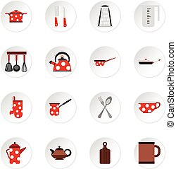 Kitchen utensil icons set, flat style
