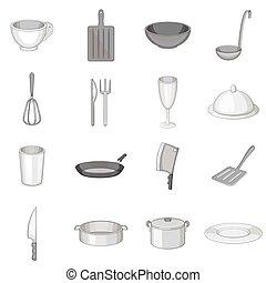 Kitchen utensil icons set, gray monochrome style