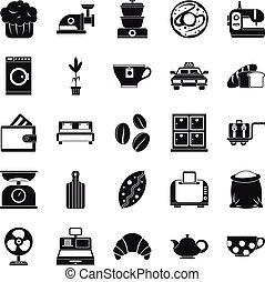 Kitchen utensil icons set, simple style