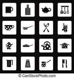 Kitchen utensil icons set, simple style
