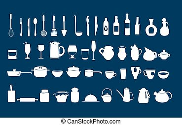 Kitchen utensil icons vector set