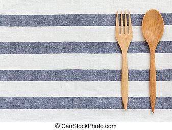 Kitchen utensil - kitchen utensil on tablecloth background