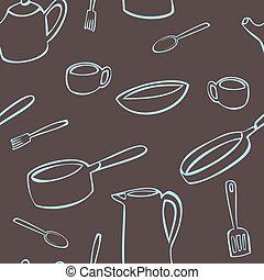 Kitchen Utensil Pattern - A seamless pattern of various...
