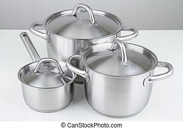 kitchen utensil, pan and cooking pot