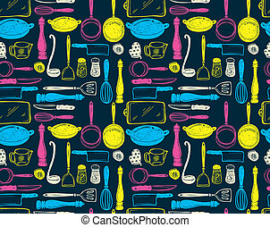 kitchen utensil seamlesss pattern