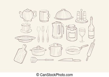 Kitchen utensil set, cooking equipment icons hand drawn vector illustration
