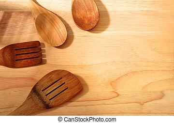 Kitchen utensil. Set of kitchen utensil made from wood.