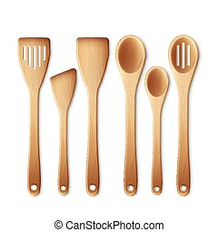 Vector set of the wooden kitchen utensils isolated on a white background