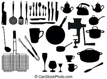 Kitchen utensil silhouette collection