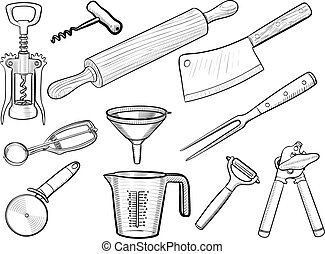 Kitchen utensil sketches - Vector hand drawn kitchen...