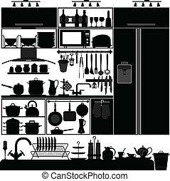A set of kitchen interior design and tool.