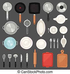 Kitchen utensil vector kitchenware or cookware for cooking...