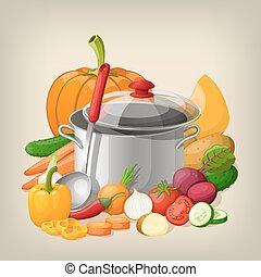 Kitchen utensils and vegetables. Vector kitchen background.
