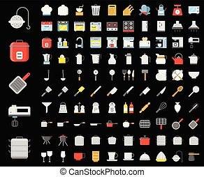 Kitchen utensils, bakery equipments, chef uniform and home appliance 100 icons, drawing on grid system, flat design icon