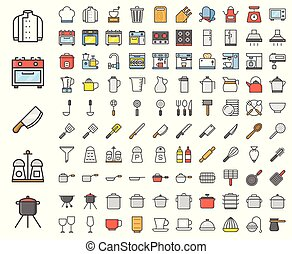Kitchen utensils, bakery equipments, chef uniform and home appliance 100 icons, drawing on grid system, filled outline icon