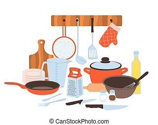 Kitchen utensils. Baking and cuisine tools composition, cookware and tableware, cartoon pots and pans, knives and forks, cutting board and grater for vegetables vector concept