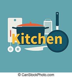 Kitchen utensils. Flat design.