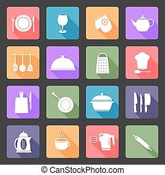 Kitchen utensils flat icons