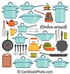 Kitchen utensils flat icons set