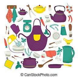 Kitchen utensils for cooking, kitchenware set, collection of icons symbolizing kitchen equipment, food, cook, isolated vector illustration.