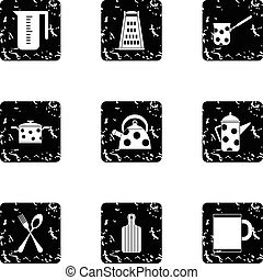 Kitchen utensils icons set, grunge style
